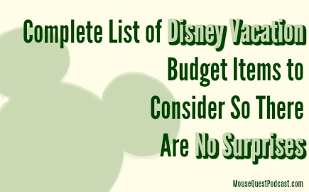 Disney Vacation Budget